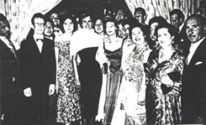 Dinner held in honor of Sophia Loren (center) in the Uaddan Hotel, March 1957 (Courtesy of Vittorio Halfon)